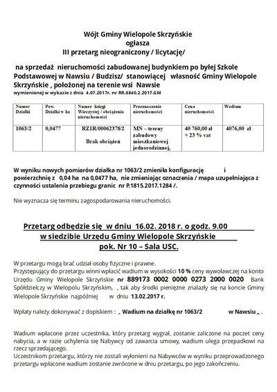 III przetarg nieograniczony (licytacja) na sprzedaż nieruchomości zabudowanej budynkiem po byłej Szkole Podstawowej w Nawsiu (Budzisz)