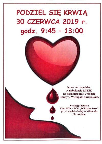 Akcja Honorowego Krwiodawstwa - 30 czerwca 2019 r.