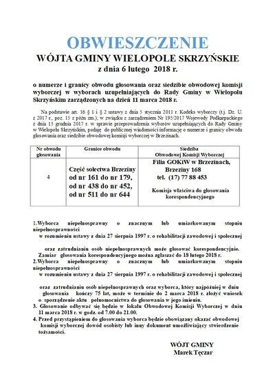 Obwieszczenie Wójta Gminy Wielopole Skrzyńskie z dnia 6 lutego 2018 r.