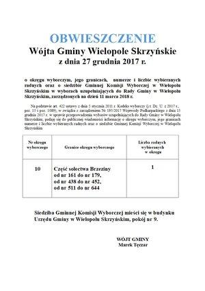 Obwieszczenie Wójta Gminy Wielopole Skrzyńskie z dnia 27 grudnia 2017 r.