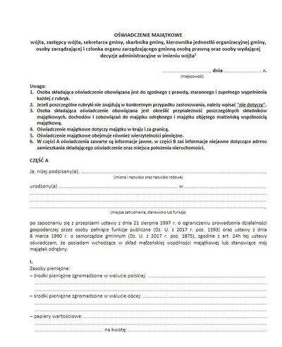 Oświadczenie majątkowe - aktualne wzory dokumentów do pobrania