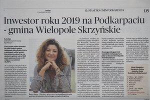 Gmina Wielopole Skrzyńskie nagrodzona w rankingu Złota Setka Gmin Podkarpacia