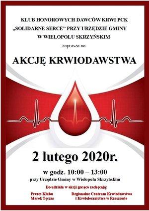 Akcja Honorowego Oddawania Krwi - 2 lutego 2020 r.