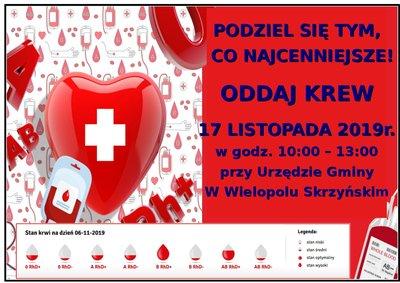 Akcja Honorowego Oddawania Krwi - 17 listopada 2019 r.