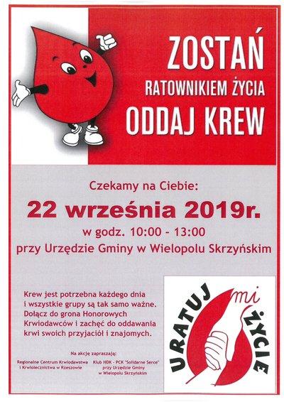 Akcja Honorowego Oddawania Krwi - 22 września 2019 r.
