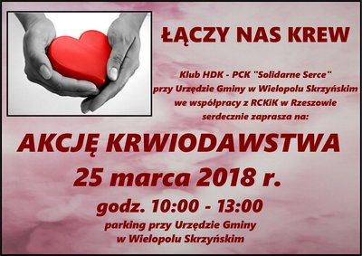 Akcja krwiodawstwa - 25 marca 2018 r.
