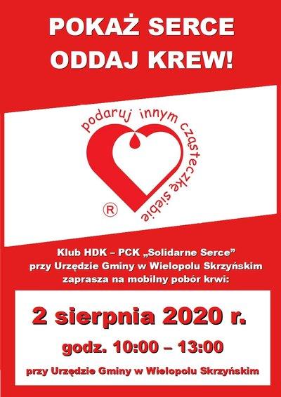 Akcja Honorowego Oddawania Krwi - 2 sierpnia 2020 r.