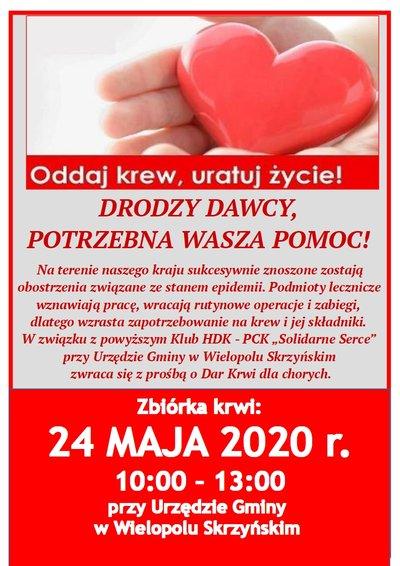 Akcja Honorowego Oddawania Krwi - 24 maja 2020r.