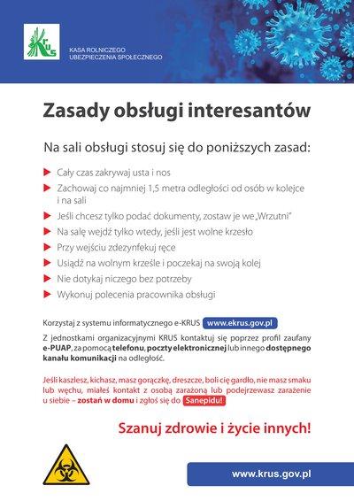 Zasady obsługi interesantów w Kasie Rolniczego Ubezpieczenia Społecznego