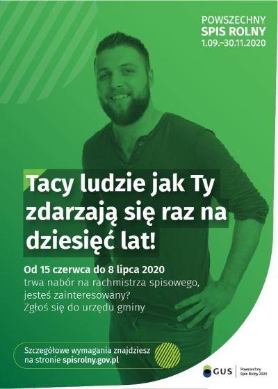 Nabór kandydatów na rachmistrzów terenowych do przeprowadzenia Powszechnego Spisu Rolnego PSP 2020 na terenie Gminy Wielopole Skrzyńskie w terminie od 1 września 2020 r. do 30 listopada 2020 r.