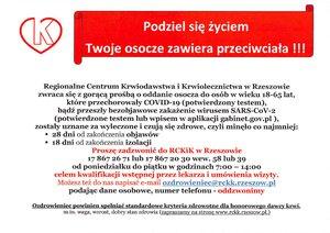 Apel do osób, które przechorowały COVID-19 o oddanie osocza