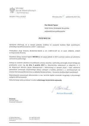 Promesa na dofinansowanie przebudowy drogi Brzeziny-Berdechów-Szkoła