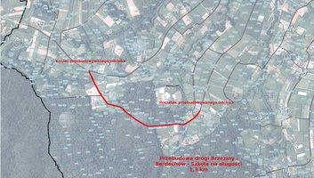 Mapa poglądowa dotycząca dofinansowania przebudowy drogi Brzeziny-Berdechów-Szkoła