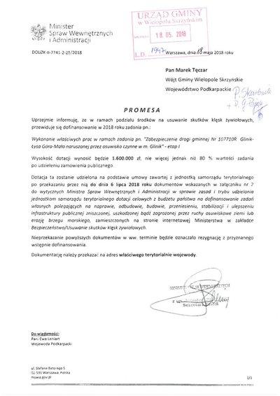 Zabezpieczenie drogi gminnej Glinik – Łysa Góra – Mała