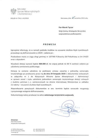 Promesa dla Gminy Wielopole Skrzyńskie na przebudowę mostu w ciągu drogi gminnej Brzeziny Dół Południowy