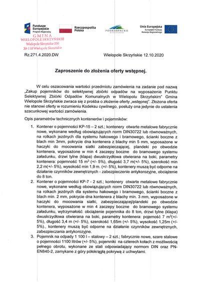 Zakup pojemników do selektywnej zbiórki odpadów na wyposażenie PSZOK w Wielopolu Skrzyńskim