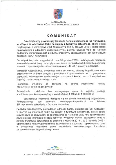 Komunikat dla przedsiębiorców jednostek handlu detalicznego lub hurtowego, w których są oferowane torby na zakupy z tworzywa sztucznego