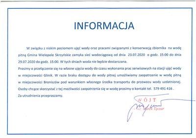 Informacja dotycząca czasowego zamknięcia wodociągu w miejscowości Glinik