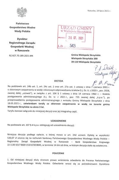 Decyzja o taryfie dla zbiorowego zaopatrzenia w wodę na terenie gminy Wielopole Skrzyńskie