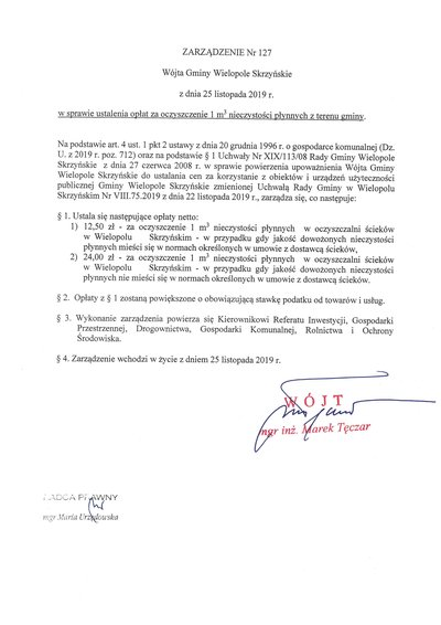 Zarządzenie Wójta Gminy Wielopole Skrzyńskie w sprawie ustalenia opłat za oczyszczenie 1m3 nieczystości płynnych z terenu gminy