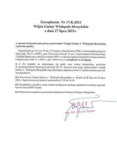Zarządzenie Wójta Gminy Wielopole Skrzyńskie w sprawie skrócenia czasu pracy pracowników Urzędu Gminy