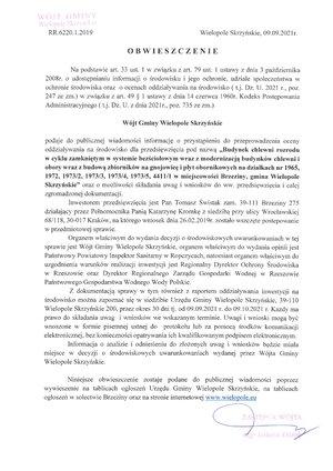 Obwieszczenie Wójta Gminy Wielopole Skrzyńskie o przeprowadzeniu oceny oddziaływania na środowisko dla przedsięwzięcia