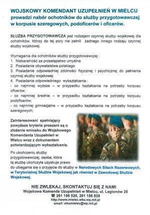 Nabór ochotników do służby przygotowawczej w korpusie szeregowych, podoficerów i oficerów