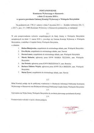 Postanowienie Komisarza Wyborczego w Rzeszowie z dnia 12 stycznia 2018 r.