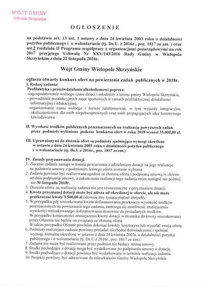 Ogłoszenie o konkursie ofert na powierzenie zadań publicznych w 2018 roku.
