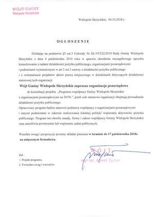 """Konsultacje projektu """"Program współpracy Gminy Wielopole Skrzyńskie z organizacjami pozarządowymi na 2019 r"""