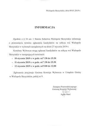 Informacja o przesunięciu terminu zgłaszania kandydatów na sołtysa wsi Wielopole Skrzyńskie