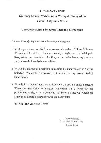Obwieszczenie Gminnej Komisji Wyborczej w Wielopolu Skrzyńskim z dnia 12 stycznia 2019 r.  o wyborze Sołtysa Sołectwa Wielopole Skrzyńskie