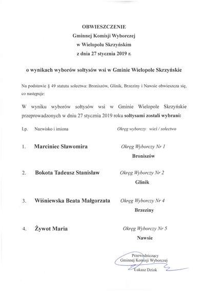 Obwieszczenie Gminnej Komisji Wyborczej w Wielopolu Skrzyńskim z dnia 27 stycznia 2019 r. o wynikach wyborów sołtysów wsi w Gminie Wielopole Skrzyńskie