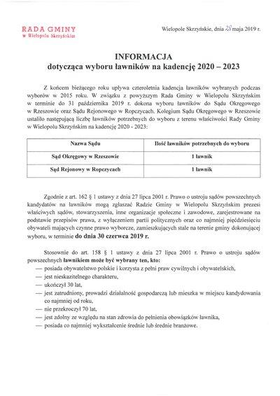 Informacja dotycząca wyboru ławników na kadencję 2020 - 2023