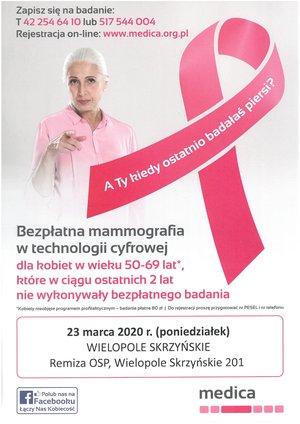 Bezpłatna mammografia w technologii cyfrowej