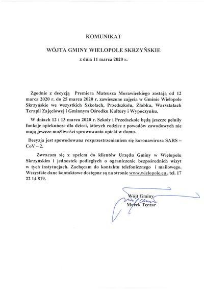 Komunikat Wójta Gminy Wielopole Skrzyńskie