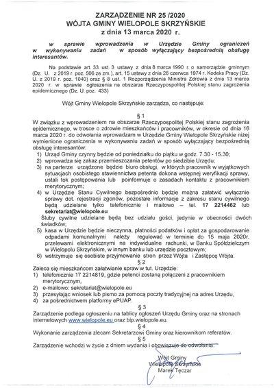 Zarządzenie Wójta Gminy Wielopole Skrzyńskie z dnia 13 marca 2020 r.