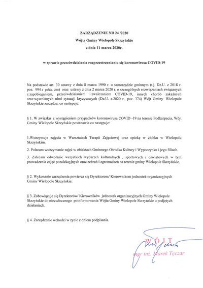 Zarządzenie Wójta Gminy Wielopole Skrzyńskie z dnia 11 marca 2020 r.