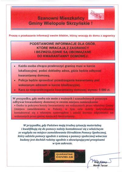 Podstawowe informacje dla osób, które wracają z zagranicy i bezwzględnie są obowiązane do kwarantanny domowej