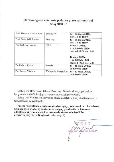 Harmonogram zbierania podatku przez sołtysów wsi