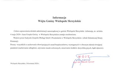 Otwarcie kasy Urzędu Gminy Wielopole Skrzyńskie