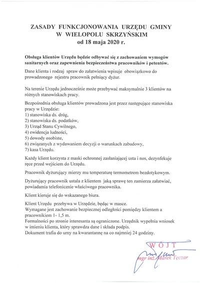 Zasady funkcjonowania Urzędu Gminy w Wielopolu Skrzyńskim od 18 maja 2020 r.