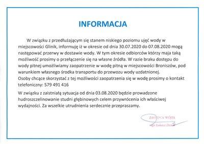 Informacja dotycząca przerw w dostawie wody w miejscowości Glinik