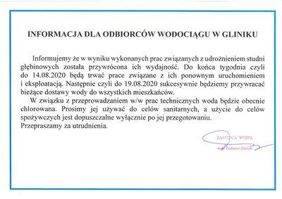 Informacja dla odbiorców wodociągu w Gliniku
