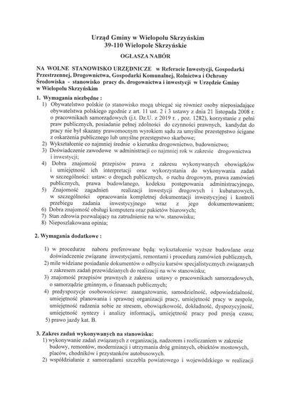 Nabór na wolne stanowisko urzędnicze ds. drogownictwa i inwestycji w Urzędzie Gminy w Wielopolu Skrzyńskim