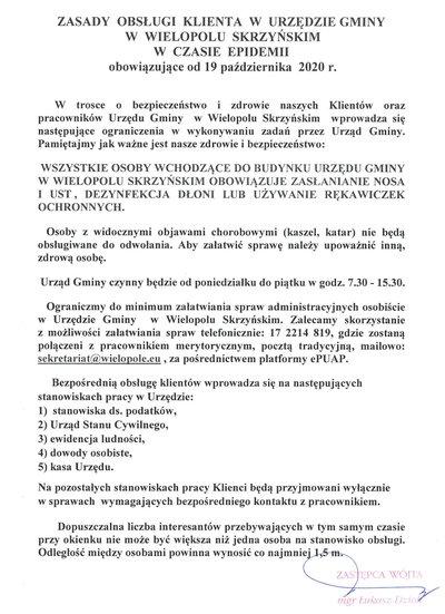 Zasady obsługi klienta w Urzędzie Gminy w Wielopolu Skrzyńskim w czasie epidemii obowiązujące od 19 października 2020 r.