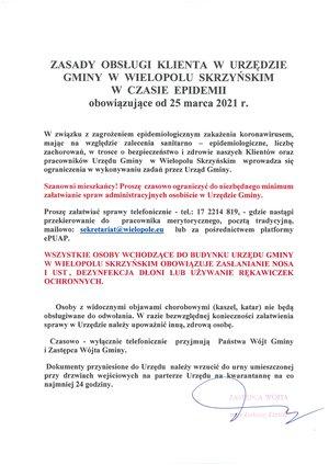 Zasady obsługi klienta w Urzędzie Gminy w Wielopolu Skrzyńskim w czase epidemii obowiązujące od 25 marca 2021r.