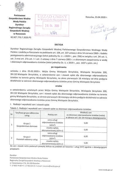 Decyzja o taryfie dla zbiorowego odprowadzania ścieków przez Gminę Wielopole Skrzyńskie