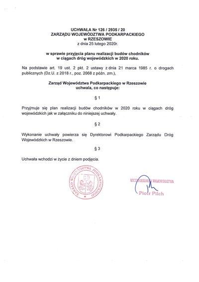 Uchwała zarządu województwa podkarpackiego w sprawie przyjęcia planu realizacji budowy chodników
