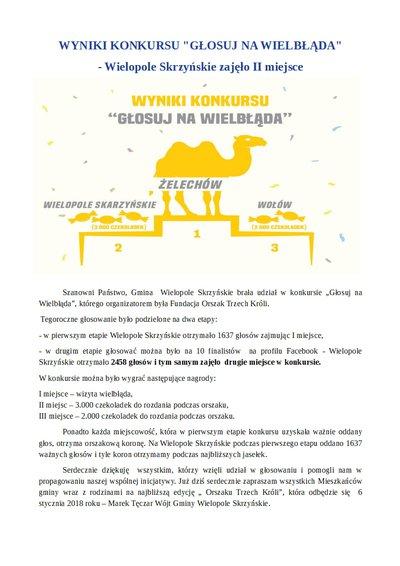 """""""Głosuj na wielbłąda!"""" wyniki II etapu konkursu"""